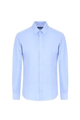 Erkek Giyim - AÇIK MAVİ XL Beden Uzun Kol Desenli Slim Fit Gömlek