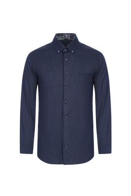 Erkek Giyim - AÇIK LACİVERT 4X Beden Uzun Kol Regular Fit Oduncu Gömlek