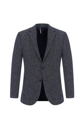 Erkek Giyim - Lacivert 44 Beden Slim Fit Desenli Ceket