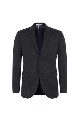 Erkek Giyim - Siyah 44 Beden Slim Fit Desenli Ceket