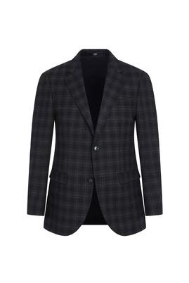 Erkek Giyim - SİYAH 56 Beden Klasik Yünlü Ekose Ceket