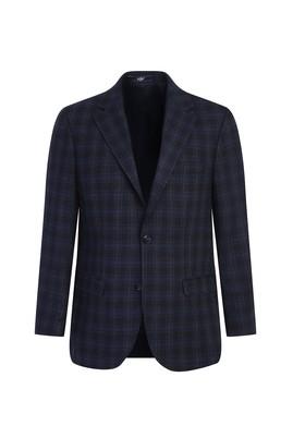 Erkek Giyim - LACİVERT 46 Beden Regular Fit Yünlü Ekose Ceket