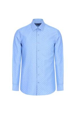 Erkek Giyim - MAVİ L Beden Uzun Kol Slim Fit Desenli Gömlek