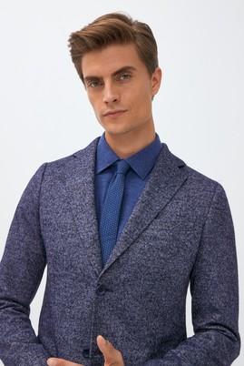 Erkek Giyim - AÇIK LACİVERT 46 Beden Yünlü Klasik Desenli Ceket