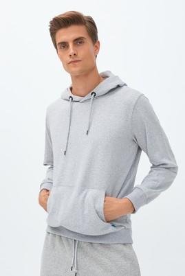 Erkek Giyim - ORTA FÜME XXL Beden Kapüşonlu Sweatshirt