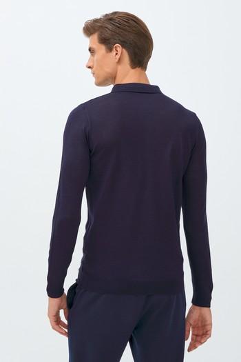 Erkek Giyim - Polo Yaka Yünlü Slim Fit Triko Kazak