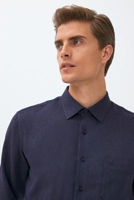 Erkek Giyim - KOYU LACİVERT L Beden Uzun Kol Desenli Oduncu Gömlek