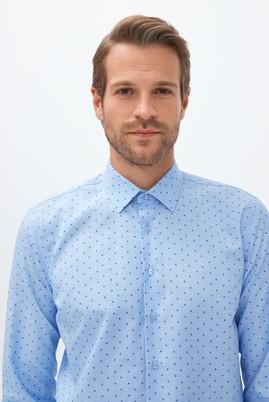 Erkek Giyim - AÇIK MAVİ L Beden Uzun Kol Slim Fit Desenli Gömlek