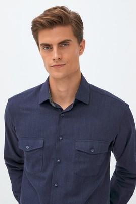 Erkek Giyim - AÇIK LACİVERT 3X Beden Uzun Kol Klasik Gömlek
