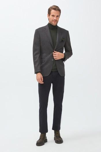 Erkek Giyim - Slim Fit Kuşgözü Örme Ceket