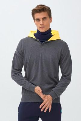 Erkek Giyim - ORTA ANTRASİT L Beden Kapüşonlu Sweatshirt
