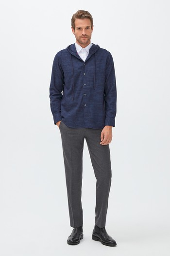Erkek Giyim - Uzun Kol Regular Fit Kapüşonlu Spor Gömlek