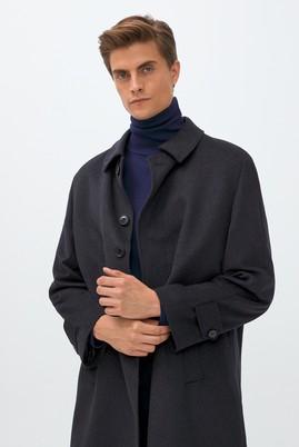 Erkek Giyim - KOYU ANTRASİT 52 Beden Klasik Yünlü Palto
