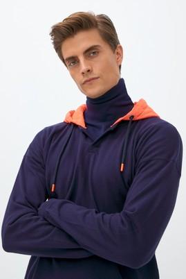 Erkek Giyim - ORTA LACİVERT M Beden Kapüşonlu Sweatshirt