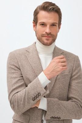 Erkek Giyim - AÇIK KAHVE 48 Beden Slim Fit Yünlü Örme Ceket