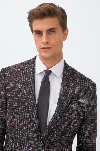 Erkek Giyim - Slim Fit Yünlü Desenli Ceket
