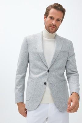Erkek Giyim - AÇIK GRİ 54 Beden Slim Fit Yünlü Örme Ceket
