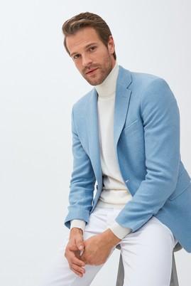 Erkek Giyim - AÇIK MAVİ 58 Beden Slim Fit Yünlü Örme Ceket