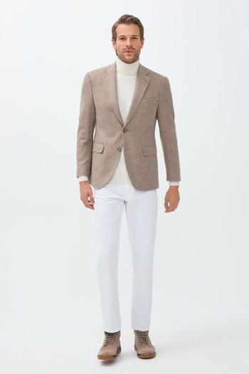 Erkek Giyim - Slim Fit Yünlü Örme Ceket