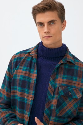 Erkek Giyim - KOYU LACİVERT 4X Beden Uzun Kol Oduncu Gömlek