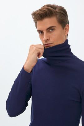 Erkek Giyim - Lacivert XL Beden Balıkçı Yaka Slim Fit Sweatshirt