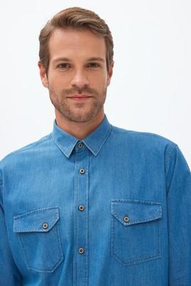 Erkek Giyim - Mavi L Beden Uzun Kol Denim Gömlek