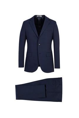 Erkek Giyim - KOYU LACİVERT 44 Beden Slim Fit Desenli Yünlü Takım Elbise