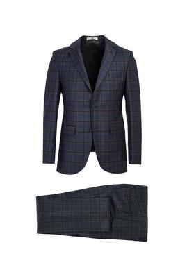 Erkek Giyim - AÇIK ANTRASİT 48 Beden Slim Fit Desenli Yünlü Takım Elbise