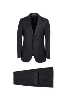 Erkek Giyim - KOYU ANTRASİT 50 Beden Klasik Kuşgözü Yünlü Takım Elbise