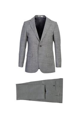 Erkek Giyim - AÇIK GRİ 50 Beden Klasik Kuşgözü Yünlü Takım Elbise