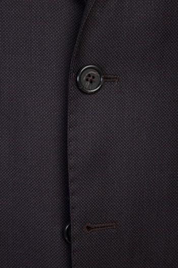 Erkek Giyim - Slim Fit Kuşgözü Yünlü Takım Elbise