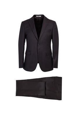 Erkek Giyim - KOYU KAHVE 46 Beden Slim Fit Kuşgözü Yünlü Takım Elbise