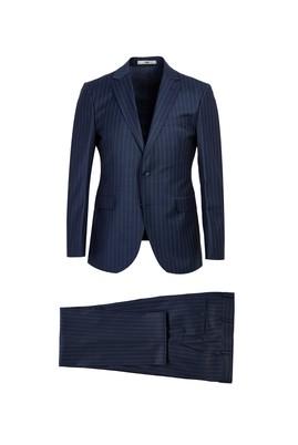 Erkek Giyim - ORTA LACİVERT 48 Beden Slim Fit Çizgili Yünlü Takım Elbise