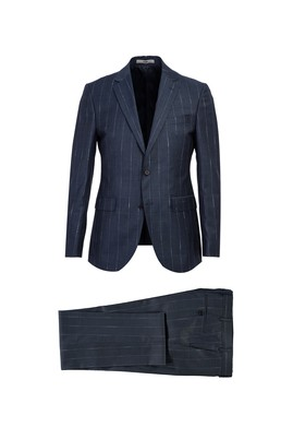 Erkek Giyim - AÇIK ANTRASİT 48 Beden Slim Fit Yünlü Çizgili Takım Elbise