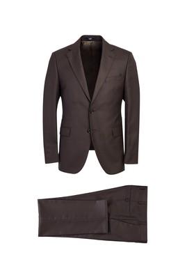 Erkek Giyim - KAHVE 44 Beden Slim Fit Desenli Takım Elbise