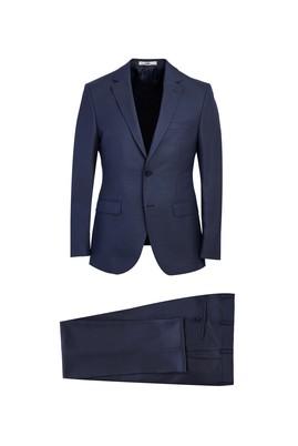 Erkek Giyim - KOYU LACİVERT 48 Beden Slim Fit Yünlü Klasik Takım Elbise