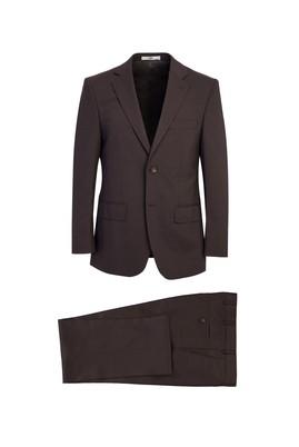 Erkek Giyim - ACI KAHVE 46 Beden Klasik Yünlü Desenli Takım Elbise