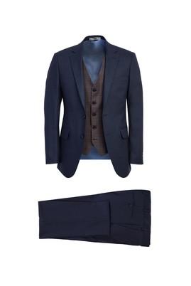 Erkek Giyim - AÇIK LACİVERT 48 Beden Slim Fit Yelekli Takım Elbise