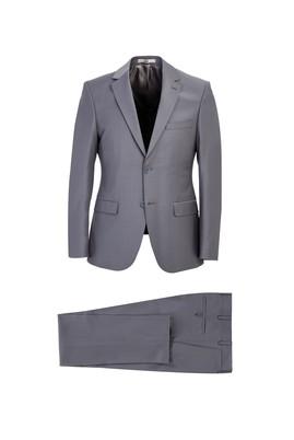 Erkek Giyim - ORTA GRİ 48 Beden Slim Fit Yünlü Takım Elbise