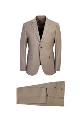 Erkek Giyim - ORTA BEJ 52 Beden Regular Fit Yünlü Takım Elbise