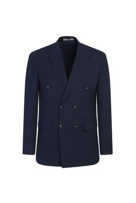 Erkek Giyim - KOYU LACİVERT 52 Beden Slim Fit Kruvaze Desenli Ceket