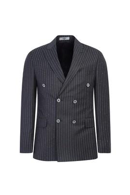 Erkek Giyim - AÇIK ANTRASİT 52 Beden Slim Fit Çizgili Kruvaze Ceket