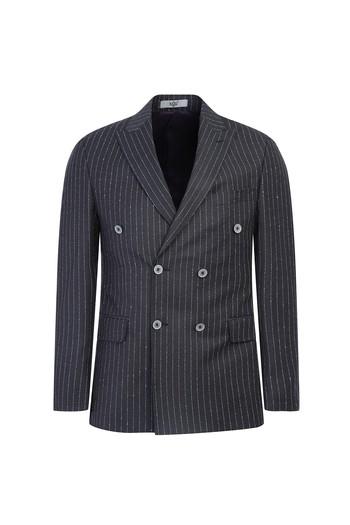 Erkek Giyim - Kruvaze Slim Fit Çizgili Ceket