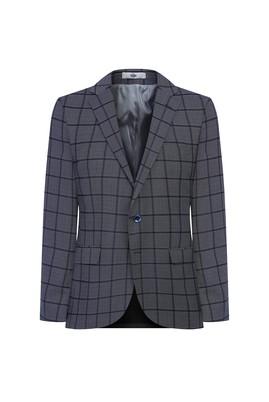 Erkek Giyim - AÇIK LACİVERT 46 Beden Regular Fit Ekose Ceket