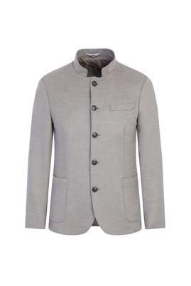 Erkek Giyim - ORTA GRİ 52 Beden Slim Fit Dik Yaka Ceket