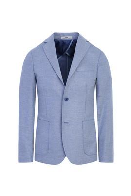 Erkek Giyim - AÇIK MAVİ 50 Beden Slim Fit Kuşgözü Ceket