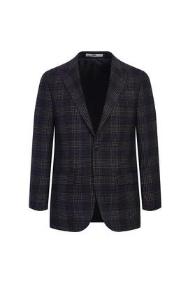 Erkek Giyim - AÇIK BORDO 52 Beden Regular Fit Yünlü Desenli Ceket