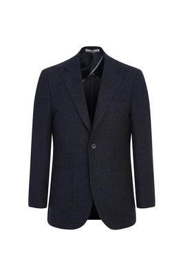 Erkek Giyim - KOYU LACİVERT 52 Beden Yünlü Klasik Desenli Ceket
