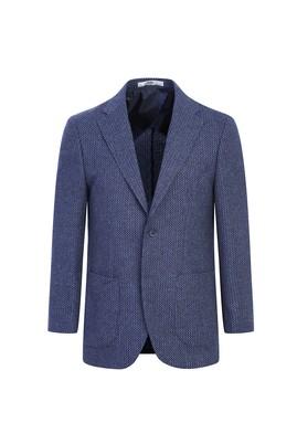 Erkek Giyim - KOYU MAVİ 54 Beden Klasik Yünlü Desenli Ceket
