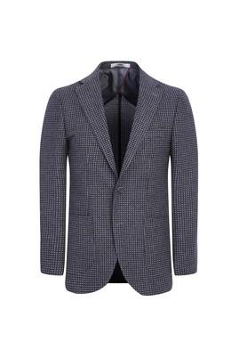 Erkek Giyim - ORTA MOR 50 Beden Yünlü Klasik Desenli Ceket